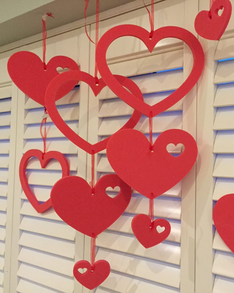 Hanging foam decorations for Heart decoration ideas