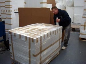 Polystyrene sheets palletized